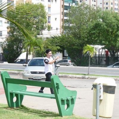 <p>Yudi gravando comercial em Aracaju.</p>